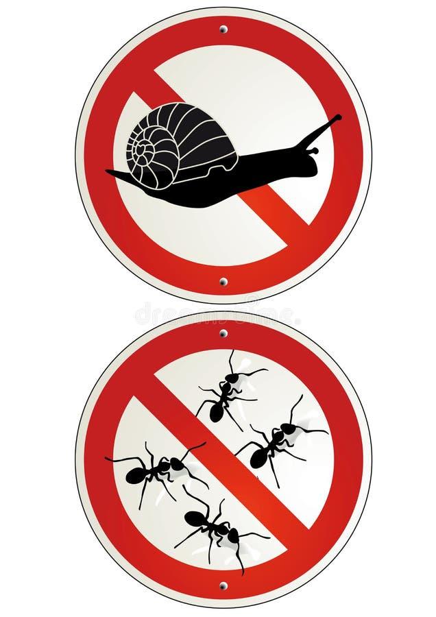 Inga myror eller sniglar arbeta i trädgården tecken vektor illustrationer