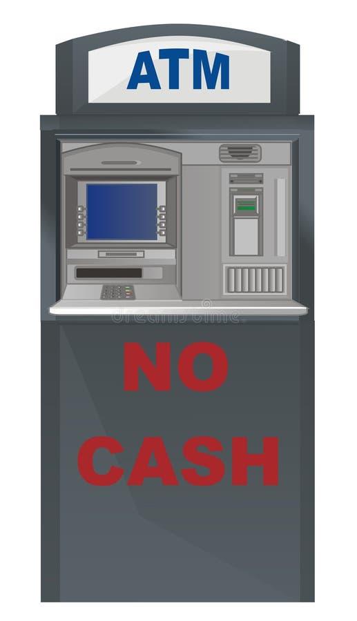 Inga pengar på ATM stock illustrationer