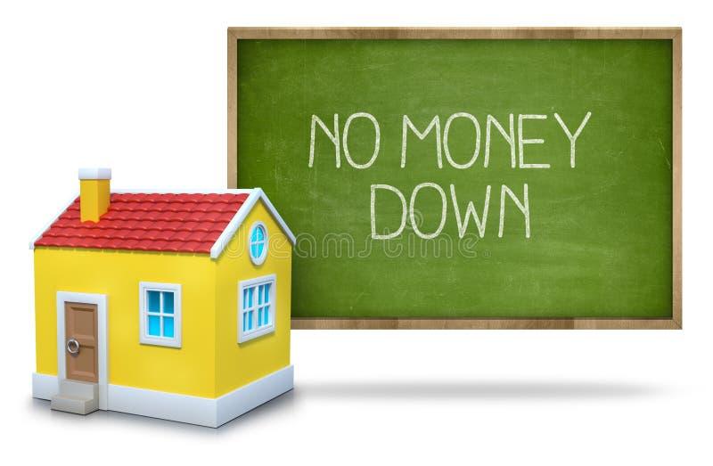 Inga pengar smsar ner på svart tavla med huset 3d stock illustrationer