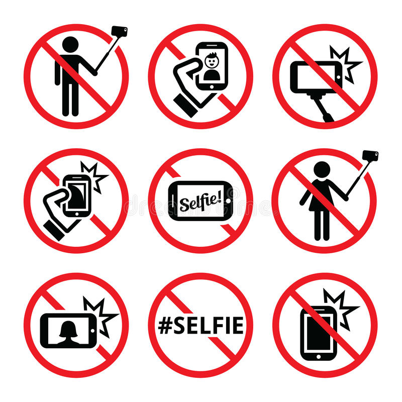 Inga selfies, ingen selfie klibbar tecken royaltyfri illustrationer