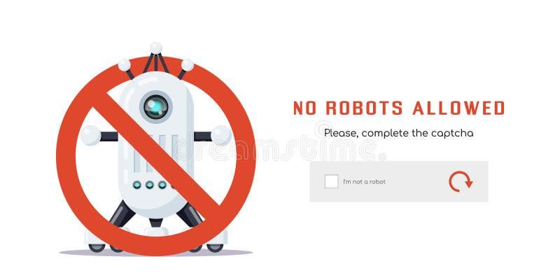 Inga tillåtna robotar royaltyfri illustrationer
