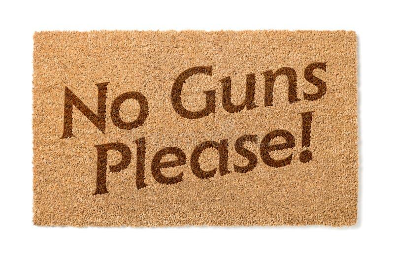 Inga vapen behar välkomna Mat On White fotografering för bildbyråer