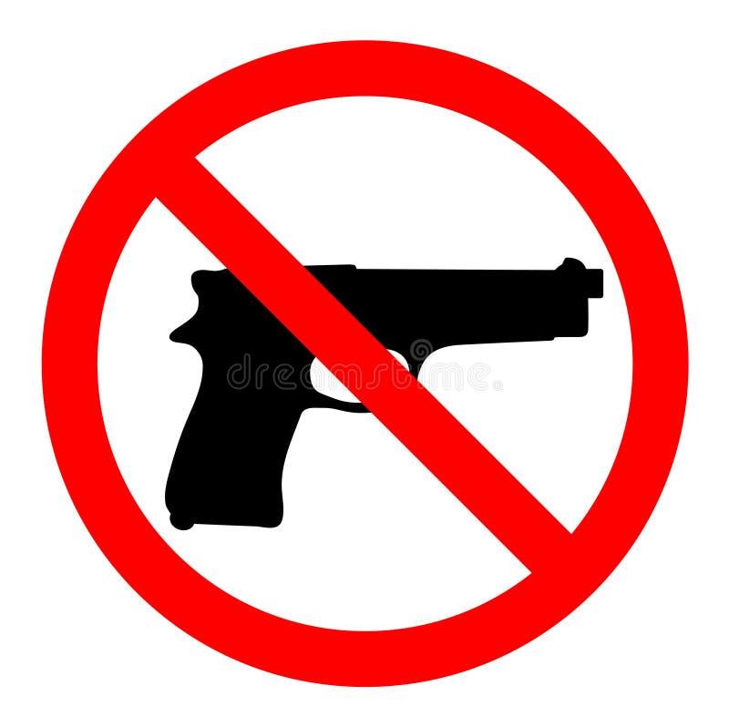 Inga vapen, inga vapen, förbudtecken på vit bakgrund stock illustrationer