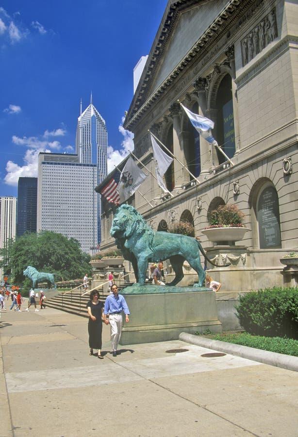 Ingang aan Art Institute Museum, Chicago, Illinois stock foto