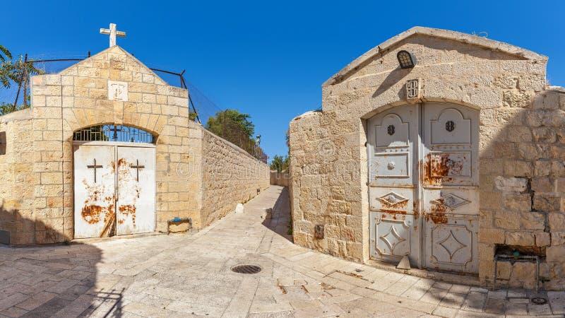 Ingang aan christelijke begraafplaats in Jeruzalem, Israël stock afbeelding