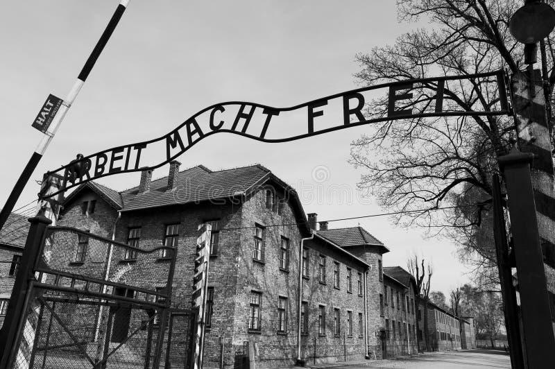 Ingang aan concentratiekamp Auschwitz royalty-vrije stock fotografie