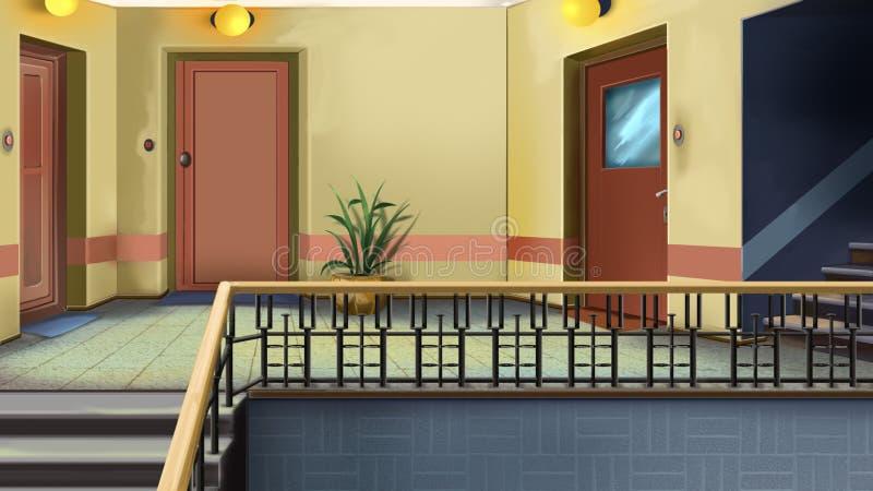 Ingang aan de flat in woningbouw vector illustratie