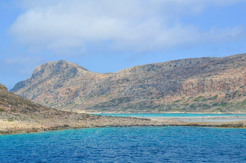 Ingang aan de schilderachtige baai van Balos in Kreta, Griekenland stock afbeelding