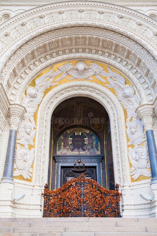 Ingang aan de Zeekathedraal van Sinterklaas stock fotografie