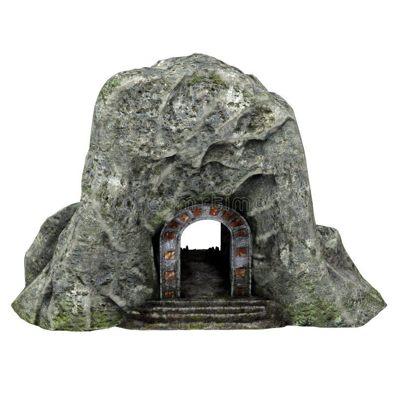 Ingang aan een steenhol met een schedel op een geïsoleerde witte achtergrond 3D Illustratie vector illustratie