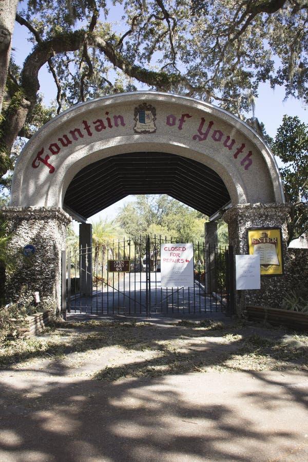 Ingang aan Fontein van de Jeugd Heilige Augustine Florida na Hurr royalty-vrije stock afbeeldingen