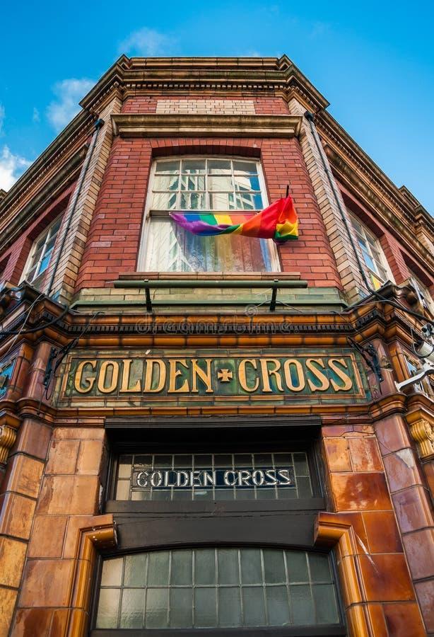 Ingang aan Gouden Dwarsbar, Cardiff royalty-vrije stock foto