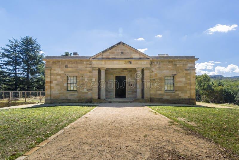 Ingang aan Hartley Courthouse, Hartley, NSW, Austtralia royalty-vrije stock afbeeldingen