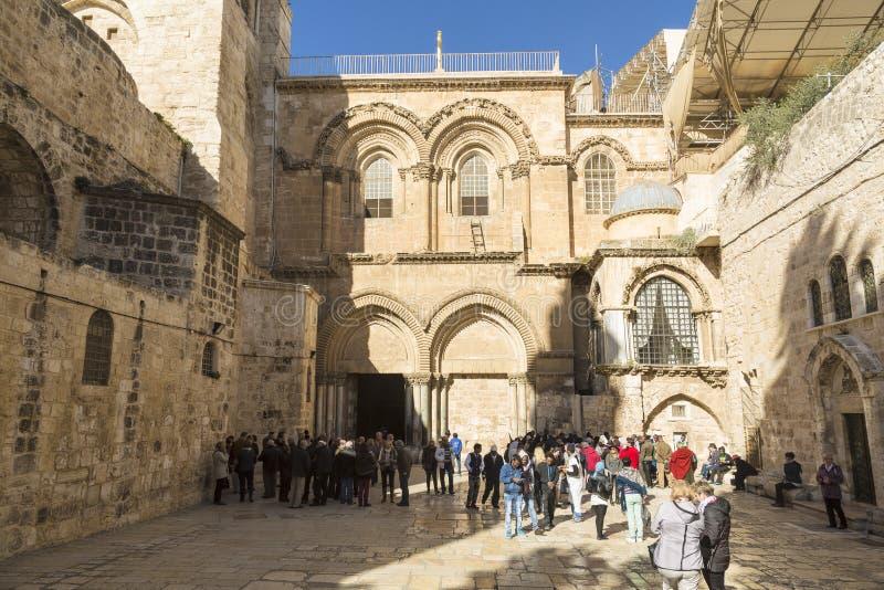 Ingang aan Heilige Grafgewelfkerk in Jeruzalem stock afbeelding