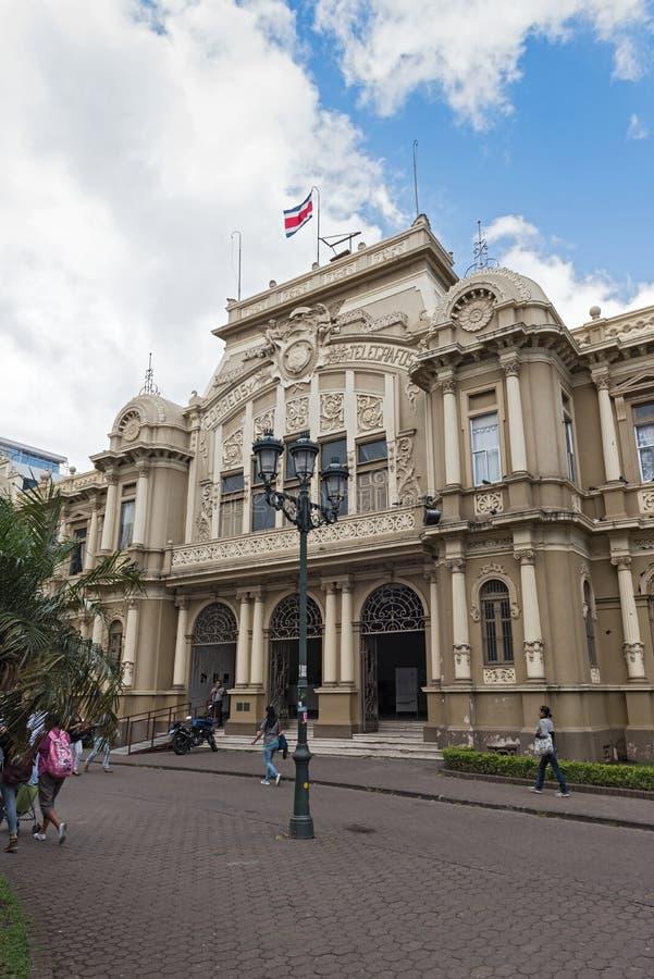 Ingang aan het belangrijkste postkantoor van San Jose, Costa Rica royalty-vrije stock afbeelding