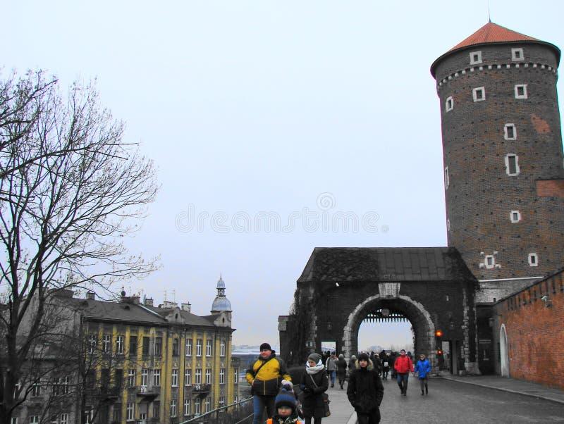 Ingang aan het kasteel van Krakau royalty-vrije stock afbeelding
