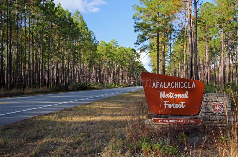 Ingang aan het Nationale Bos van Apalachicola stock foto