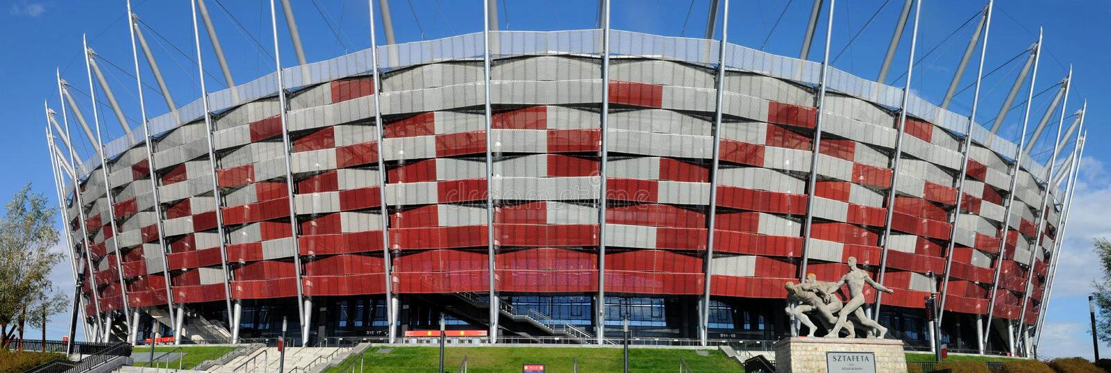 Ingang aan het Nationale Stadion in Warshau, Polen stock foto