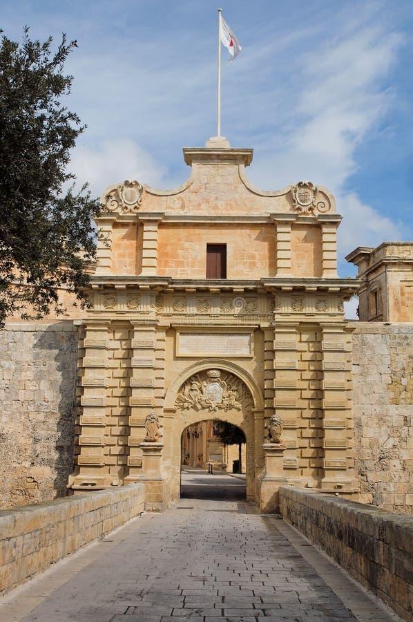 Ingang aan Mdina, Malta stock afbeeldingen