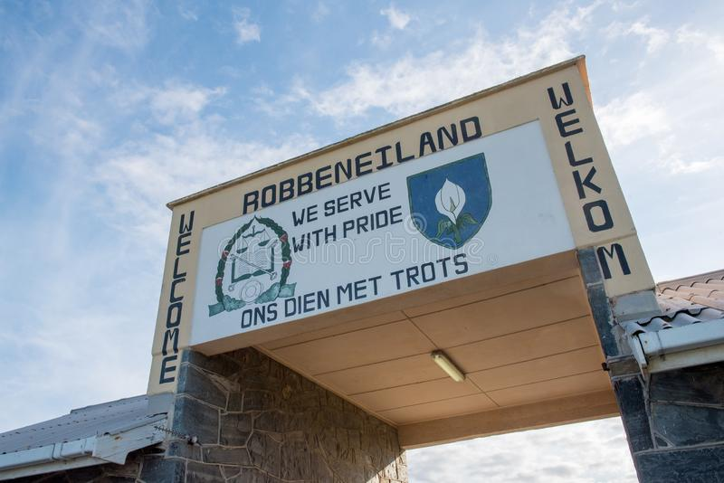 Ingang aan Robben-Eiland stock foto's