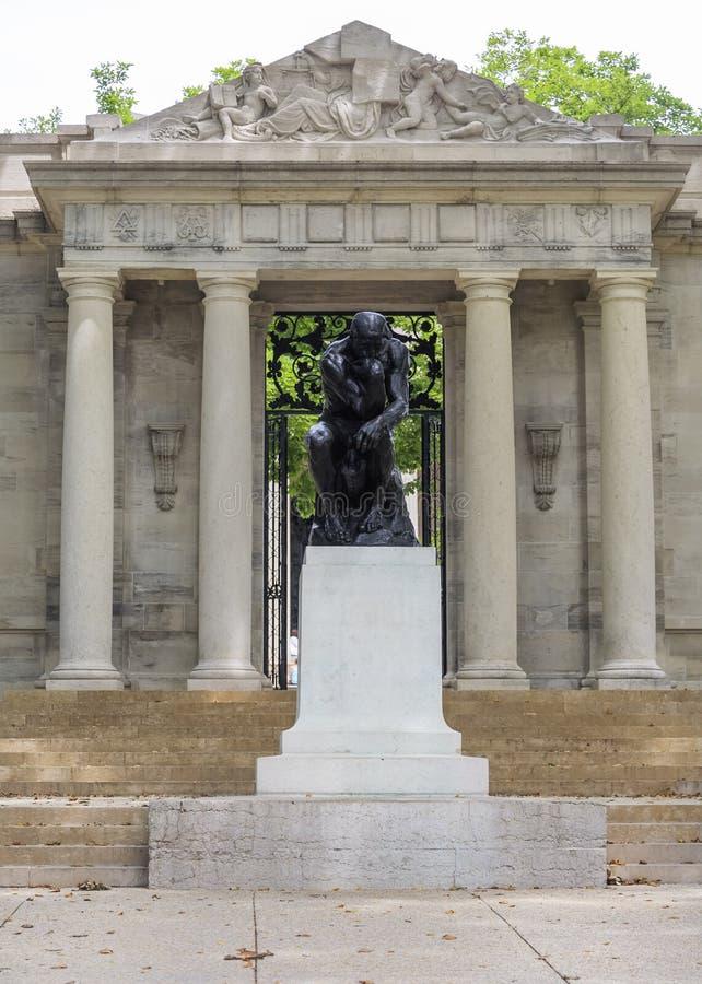 Ingang aan Rodin Museum in Philadelphia, Pennsylvania, de V.S. royalty-vrije stock afbeeldingen