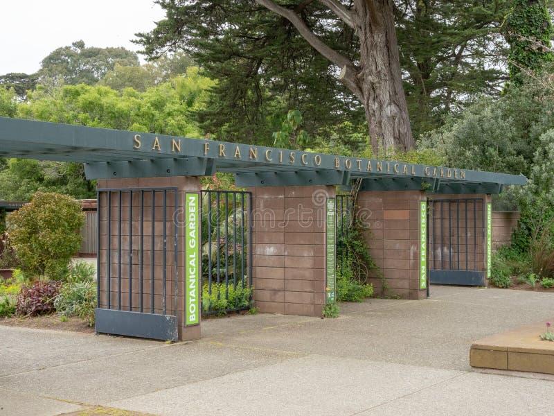 Ingang aan San Francisco Botanical Garden stock afbeelding