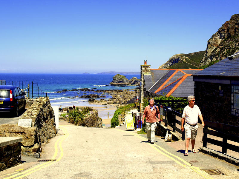 Ingang aan strand, St.Agnes, Cornwall. stock fotografie