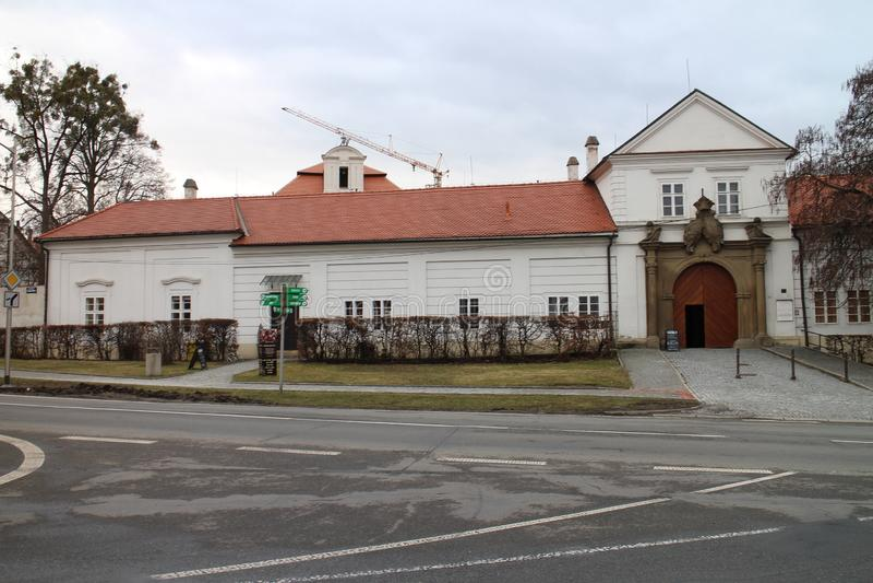 Ingang aan Vizovice-chateau, ZlÃn-gebied stock afbeelding