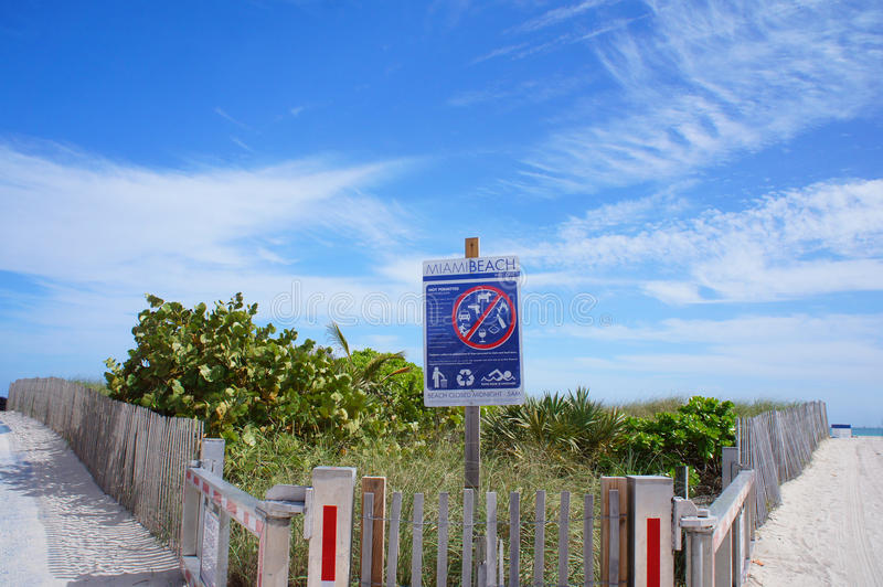 Ingang aan Zuidenstrand van Miami, Verenigde Staten royalty-vrije stock afbeeldingen