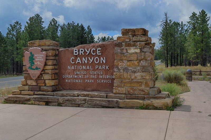 Ingang Bryce Canyon National Park stock afbeelding