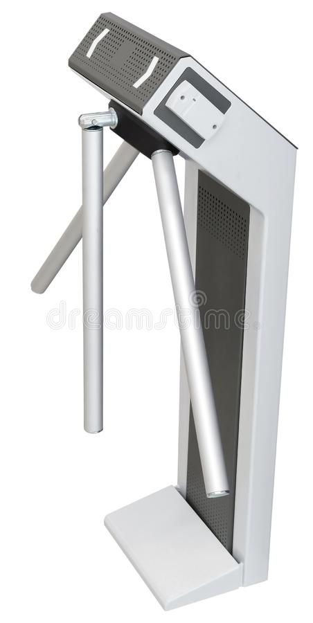 Ingang of uitgangsturnstile driepoot en kaartjeslezer stock fotografie