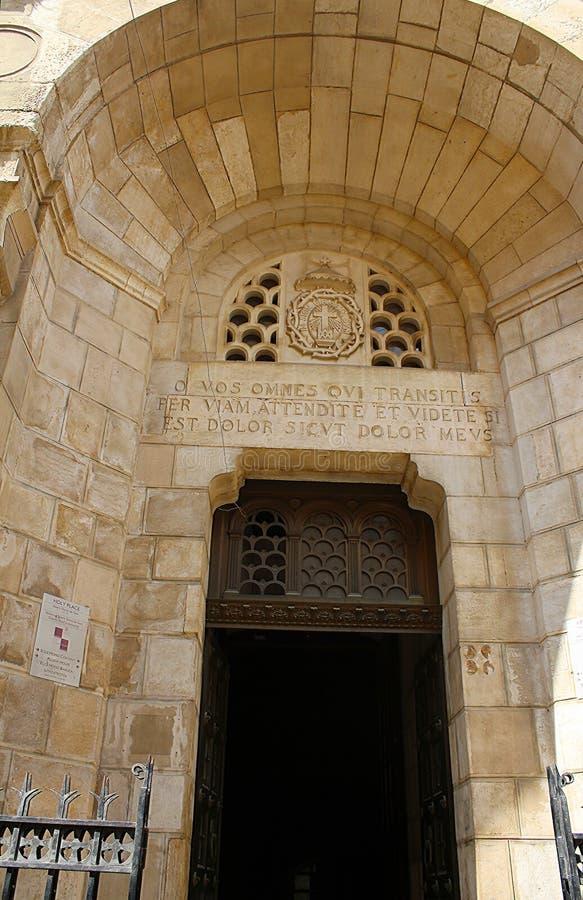Ingang van de Kerk van Veroordeling, via Doĺororosa, Jeruzalem, Oude Stad, Israël, bedevaart royalty-vrije stock foto