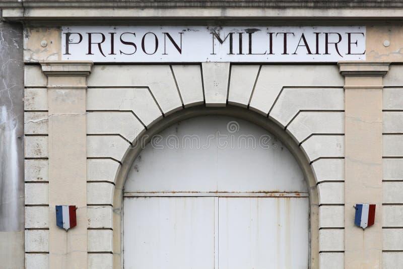Ingang van de oude militaire gevangenis van Montluc in Lyon stock afbeeldingen