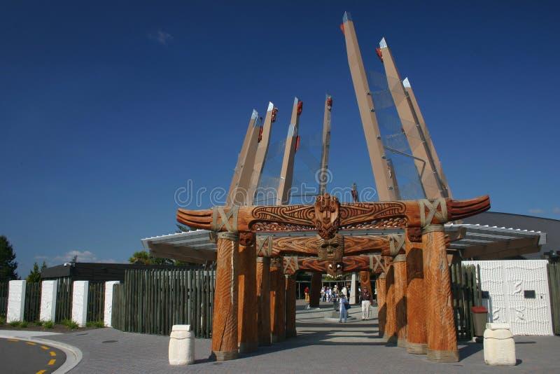 Ingang van de Plaats van Rotorua Maori royalty-vrije stock afbeeldingen