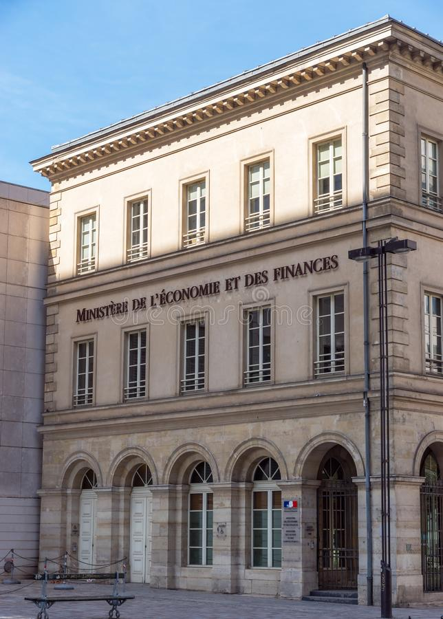 Ingang van Frans ministerie van financiën in Bercy - Parijs, Frankrijk royalty-vrije stock afbeelding