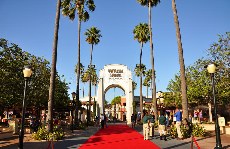 Ingang van Universele Studio's Hollywood stock afbeeldingen