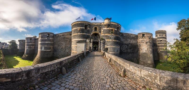 Ingangspoort van het Angers kasteel, Frankrijk royalty-vrije stock afbeelding