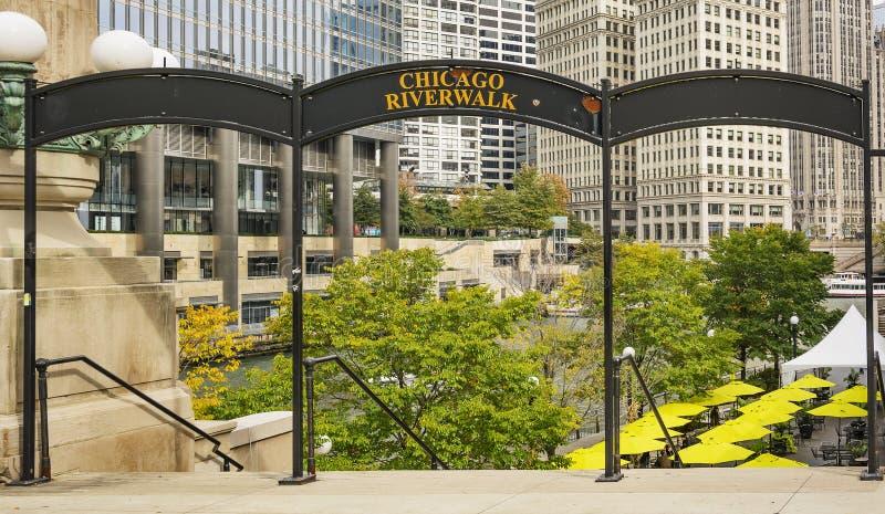 Ingangsteken van de de riviergang van Chicago royalty-vrije stock foto's