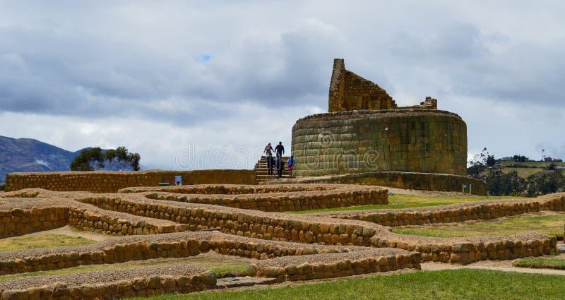 Ingapirca, complesso archeologico, pareti e piramide fotografia stock
