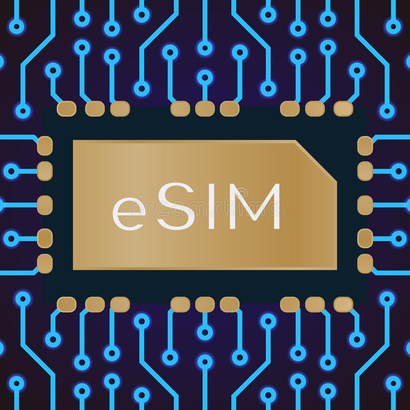 Ingebed SIM-concept stock illustratie