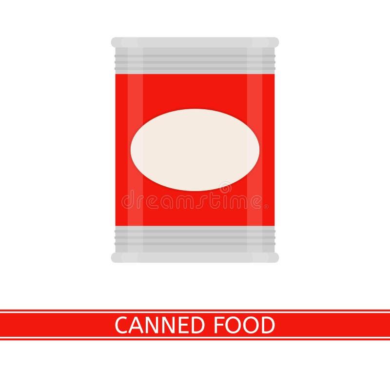 Ingeblikt geïsoleerd voedsel stock illustratie