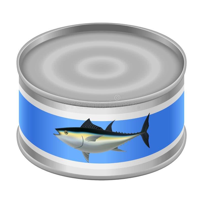 Ingeblikt tonijnmodel, realistische stijl vector illustratie