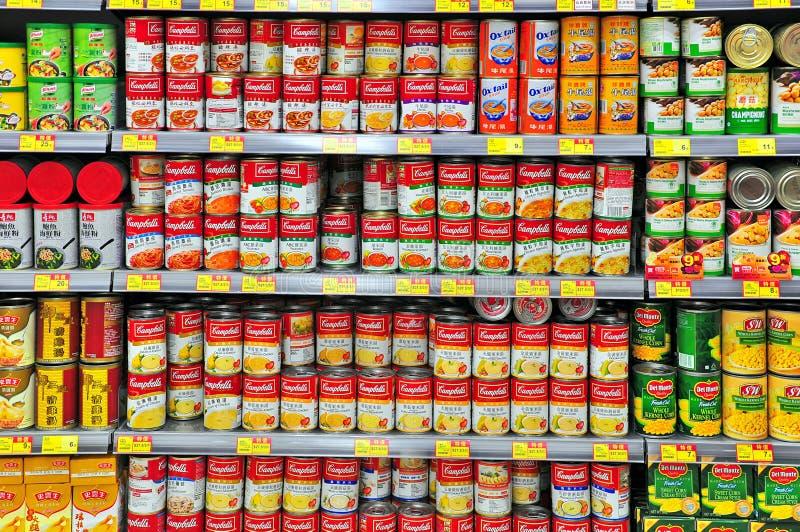 Ingeblikt voedsel bij Hongkong supermarkt