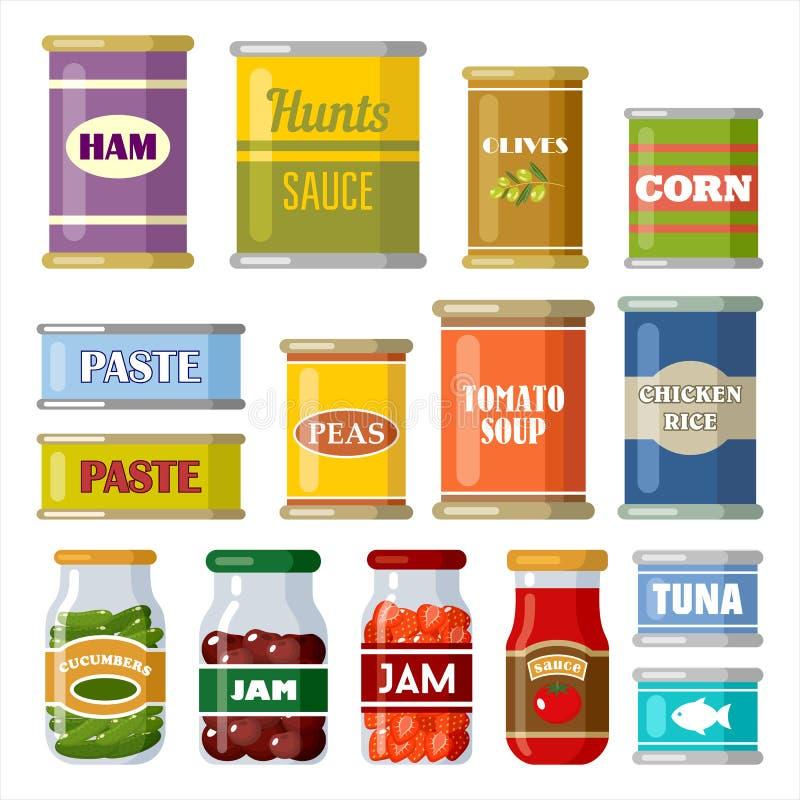 Ingeblikt voedsel op de witte achtergrond vector illustratie
