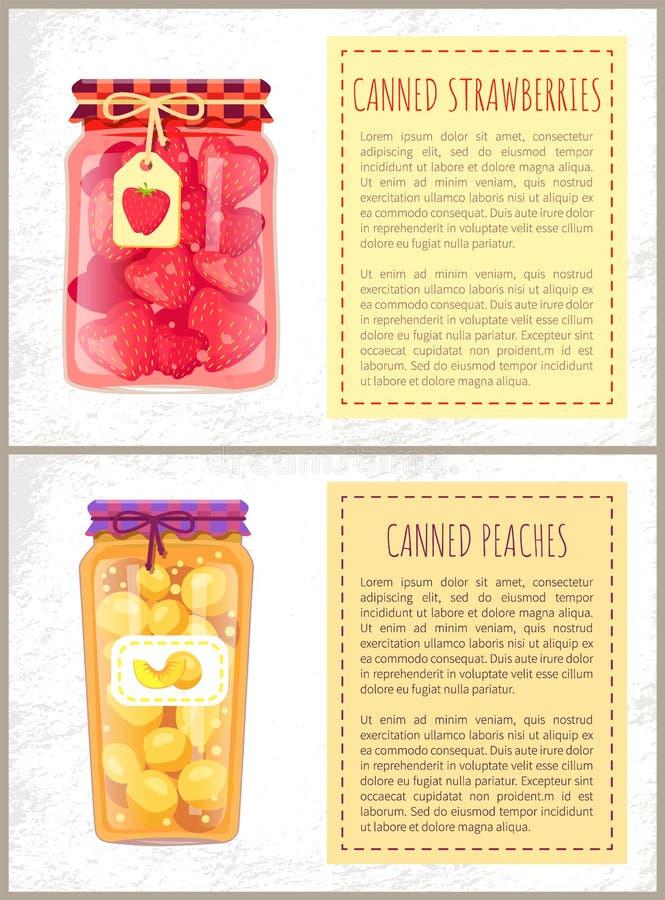 Ingeblikte Aardbeien en Peaches Jam Sweet Compote stock illustratie