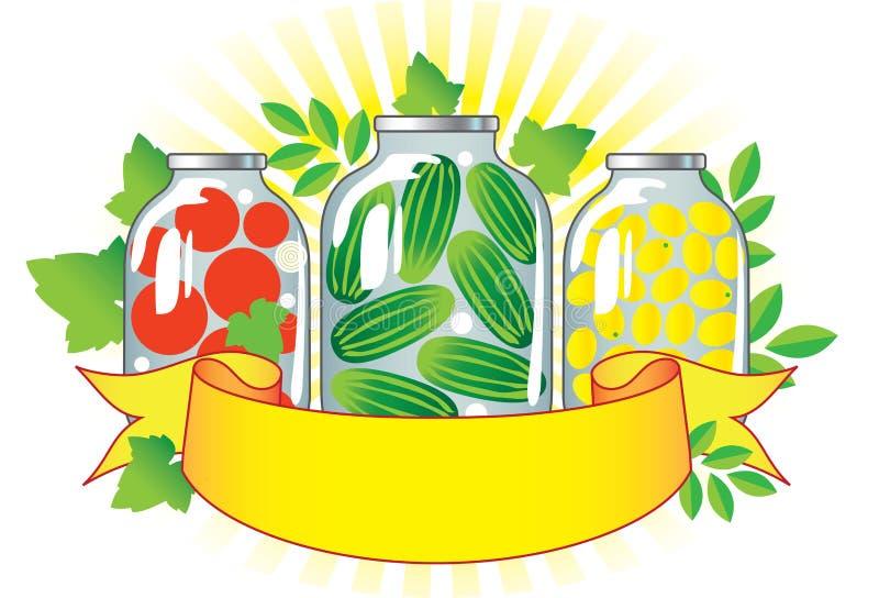 Ingeblikte vruchten en groenten in glaskruiken. vector illustratie