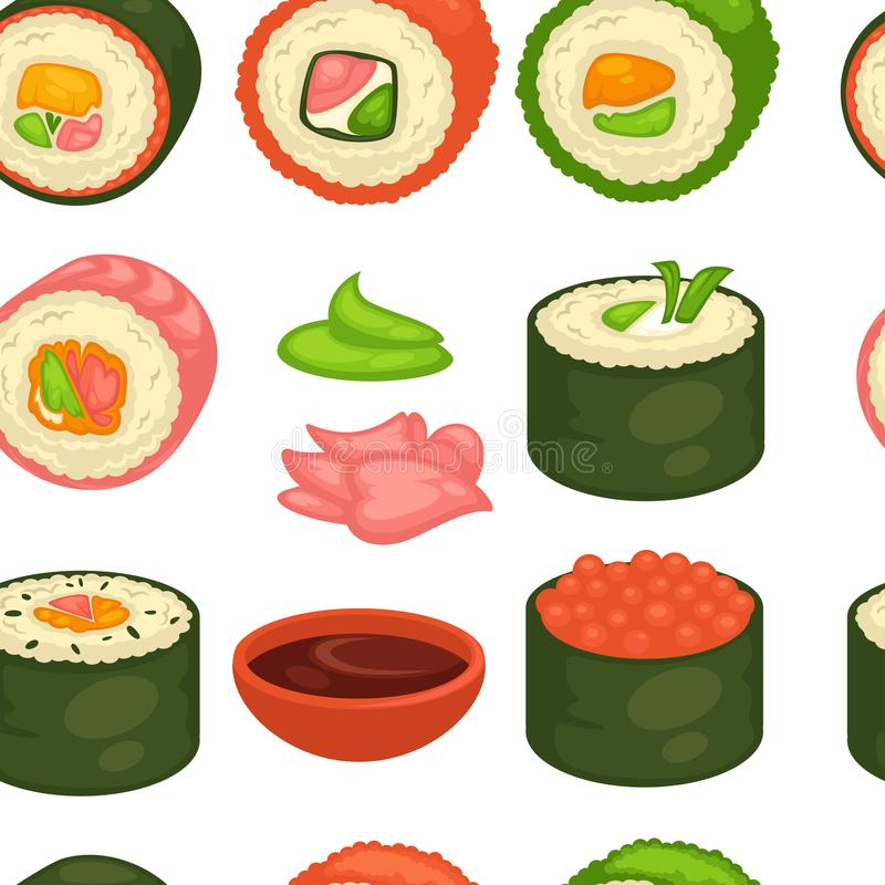 Ingefära och wasabi för modell för japansk kokkonst för sushi sömlös stock illustrationer
