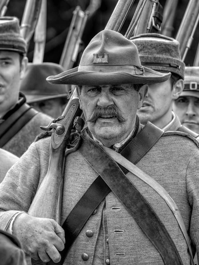 Ingegnere arruolato confederato della guerra civile americana fotografie stock
