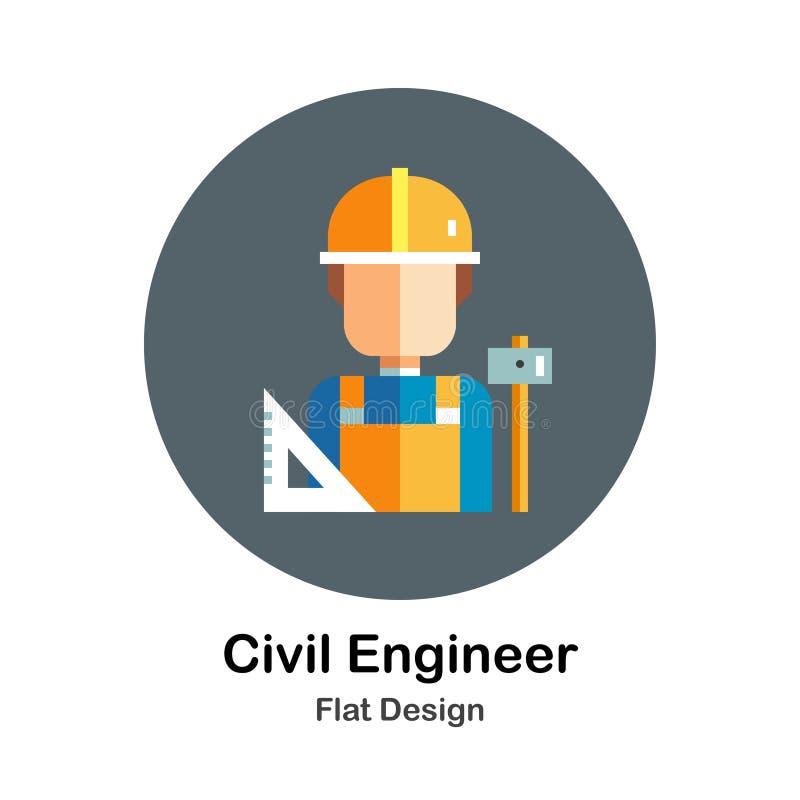 Ingegnere civile Flat Icon illustrazione di stock