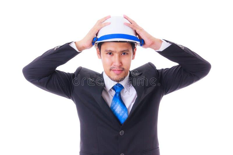 Ingegnere con il casco isoleted fotografia stock